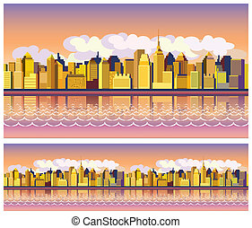 morning city - stylized seamless panoramic composition of a...