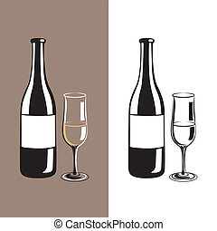 wine glass and bottle of champagne - stylized wine glass and...