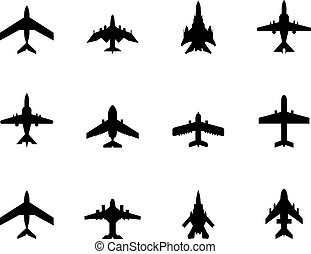 vector icons of airplanes - Vector icons of airplanes on...