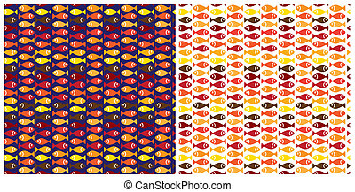 hot small fish pattern - two variants of patterns depicting...