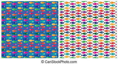 small fish pattern - two versions of the patterns with the...