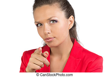 Businesswoman pointing forefinger at camera - Business woman...