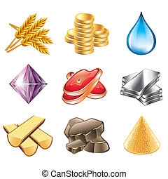 Game resources icons vector set - Game resources icons...