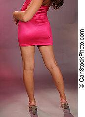Legs - A pink dress, long legs and heels