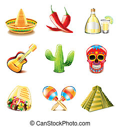 Mexican culture icons vector set - Mexican culture icons...