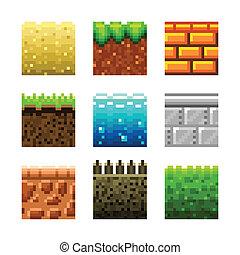 Textures for platformers pixel art vector set - Textures for...