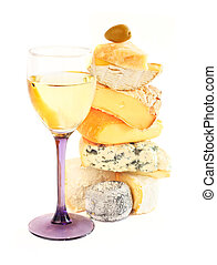 Stack of assorted cheese and wine - Stack of assorted cheese...