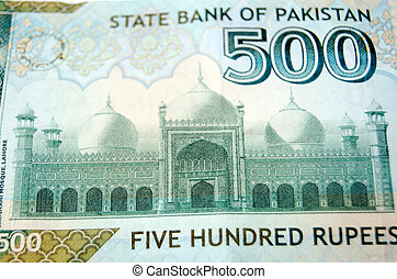 Badshahi Mosque, Lahore on banknote - Used Pakistan banknote...