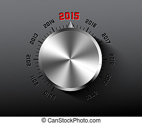 Vector 2015 New Year card with chrome knob on dark...