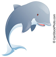 Dolphin - a lovely dolphin jumping in a white background