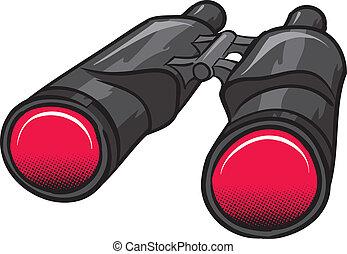 Binoculars - A bold black and red Binoculars, shaded.