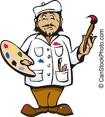 Artist - Cartoon Artist Color pallet white coat and hat.
