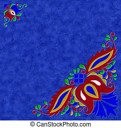Moravian folk ornament relief painting on generated marble...