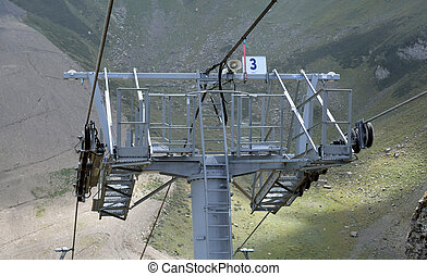 Detail of a chairlift mechanism in Krasnaya Polyana, Sochi,...