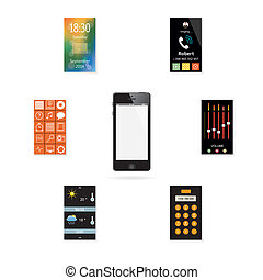 The mobile phone with a set of icon