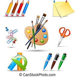 Paint tools set - Art color palette and painting drawing...