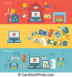 Smart home banner flat set - Smart home detectors...