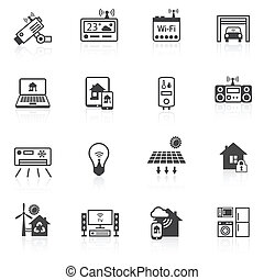 Smart home icons black - Smart home utilities security...