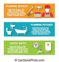 Plumbing icons banner set - Plumbing service fixtures water...
