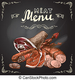Meat chalkboard poster - Meat food chalkboard set with pork...