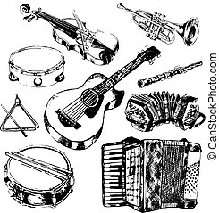Musical instruments icons set - Classic musical orchestral...