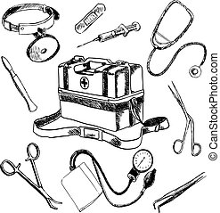 Doctor medical accessories sketch icons set - Doctor medical...