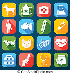 Veterinary Icons Set - Veterinary pet food and health care...