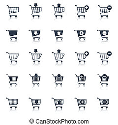 Shopping cart icons black e-commerce web design elements set...