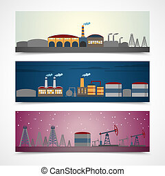 Industrial city banners set