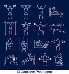 Workout training icons set outline - Workout sport and...