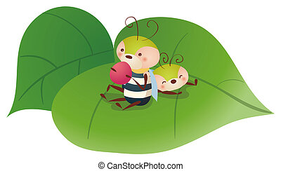cartoon bee eating fruit - two lovely bees eating fruit and...