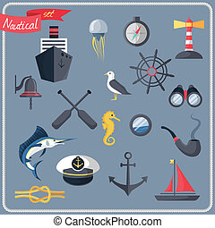 Nautical icons set - Nautical sea travel decorative icons...
