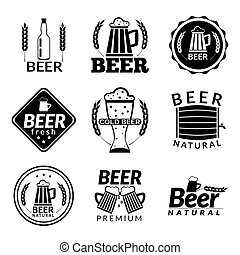 Beer black emblems - Black emblems of beer alcohol bar and...