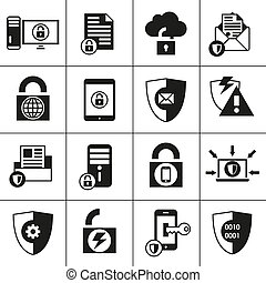Data Protection Security Icons - Business database...