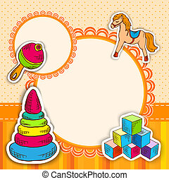 Toys frame sketch - Decorative children toys sketch icons...