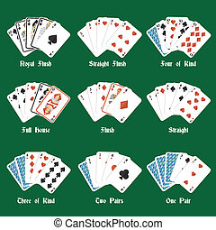 Poker hands set with royal flush four of kind full house...