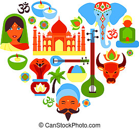 India symbols heart - India travel culture religion symbols...