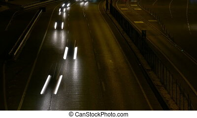Long Shutter Traffic Car Light Streaks at Night