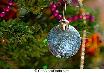 Blue christmas bulbs