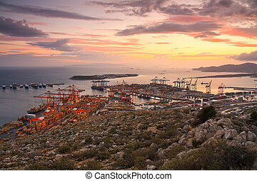 Container port Piraeus, Athens. - View of container port in...