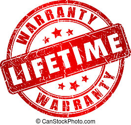 Lifetime warranty stamp isolated on white background