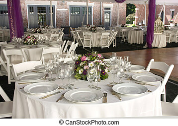 Wedding Reception - Tables set for an outdoor wedding...