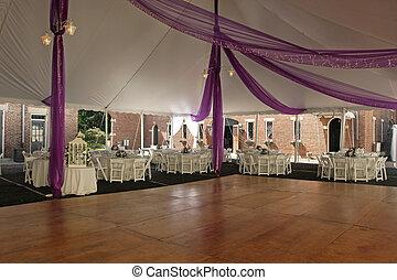 Dance Floor under tent for outdoor wedding.