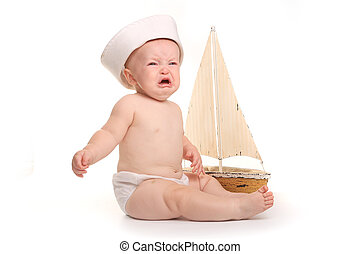 Happy Adorable Baby on a White Background