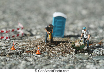 Construction Workers on the Road - Miniature Construction...