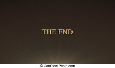 The end title - 3d gold metallic animation flying toward the...