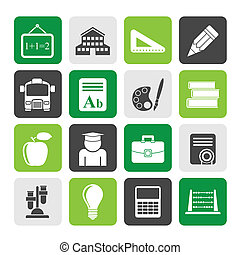 school and education icons - Silhouette school and education...