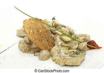 stew with mushrooms on a white background in the restaurant
