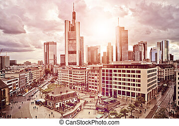 Frankfurt Skyline - aerial view of the city center of...