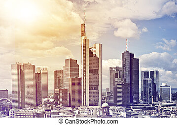 Frankfurt City Center - aerial view of the city center of...